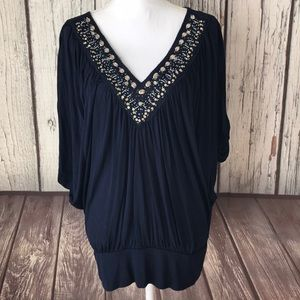 White House Black Market Navy beaded top size M